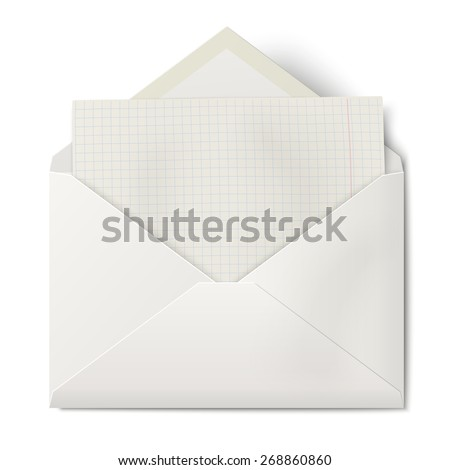 White opened envelope with sheet of squared paper inside isolated - stock photo