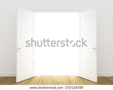 white openind door. Perspective - stock photo