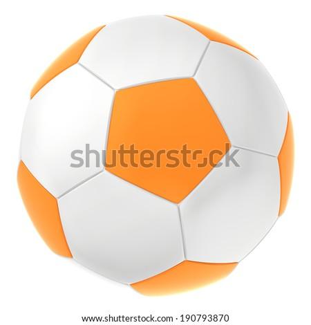 white orange soccer ball. ball for football game - stock photo