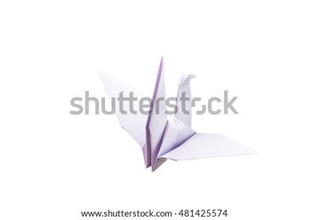 White origami bird (Origami Crane) isolated on white background.Saved with clipping path.