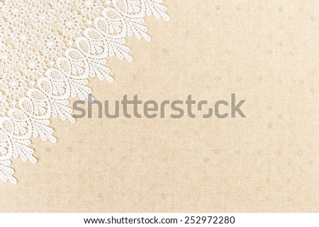 White Ornamental Lace over fabric design for border or background