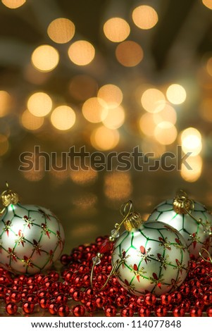 White Ornaments Holiday Background