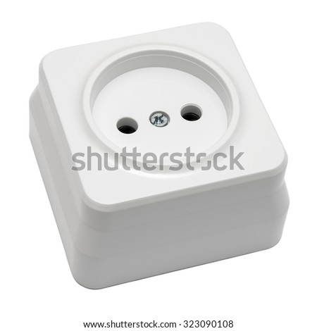 White outlet isolated on white background - stock photo