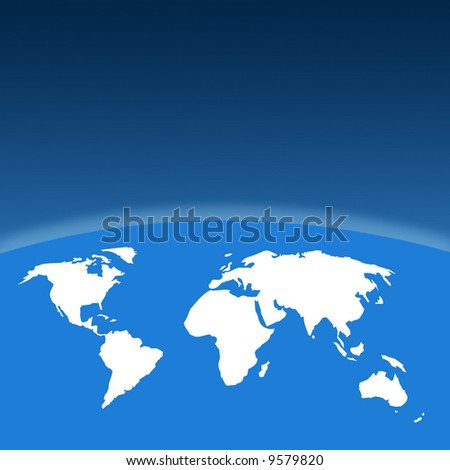White outline map on blue with graduated background
