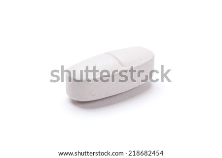 White oval drug, isolated. Healthcare concept. - stock photo