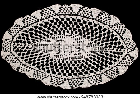White Oval Lace Tablecloth Isolated On Black Background, Floral Pattern