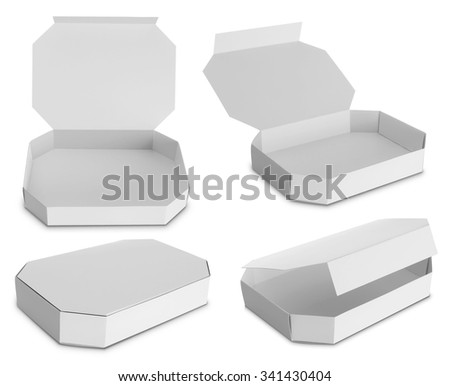 white Package Box for food products isolated over white background - stock photo