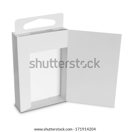 white Package Box. For Software and other products isolated over white background - stock photo