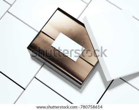 White package with wrapping paper and blank card. 3d rendering