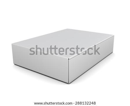 White packing boxes isolate on white background. 3d illustration. - stock photo
