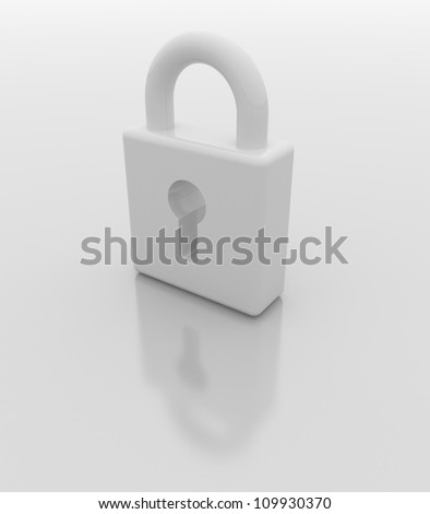 White padlock like a computer icon.