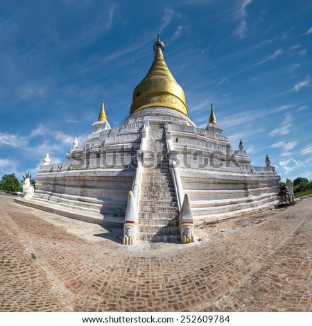 White Pagoda at Inwa ancient city. Amazing architecture of old Buddhist Temples. Myanmar (Burma) travel landscapes and destinations. Four images panorama - stock photo