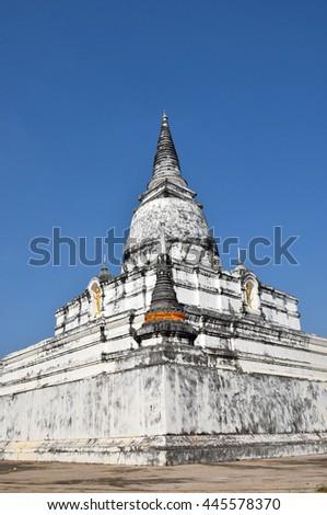 white pagoda in Uttaradit, northern of Thailand  - stock photo