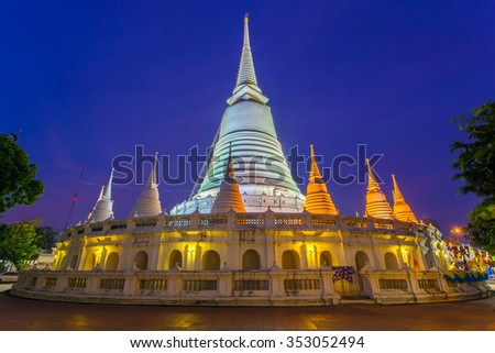 White pagoda in Wat-Prayoon Rawongsawas, Bangkok, Thailand - stock photo