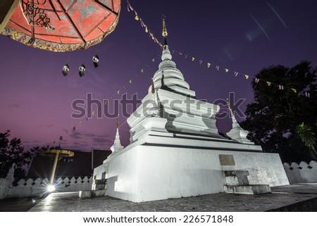 White pagoda Thai Lanna style in the morning, Nan province Thailand - stock photo