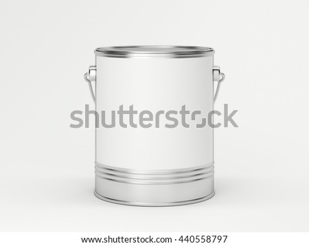 White paint can in bright studio. 3d rendering