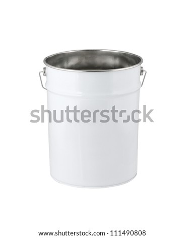 White paint can set without label isolated on white. Path included. - stock photo