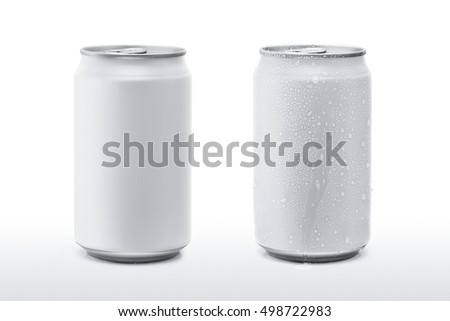 White paint cans and drop water isolated white background