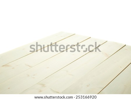 White paint coated wooden pine boards as a copyspace background composition isolated over the white background - stock photo