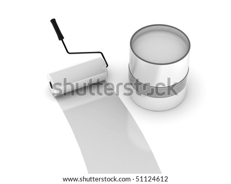 White paint. Roller and steel can isolated on white background. High quality 3d render. - stock photo