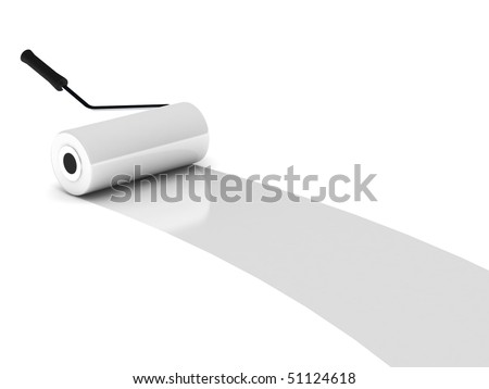 White paint roller isolated on white background. High quality 3d render. - stock photo