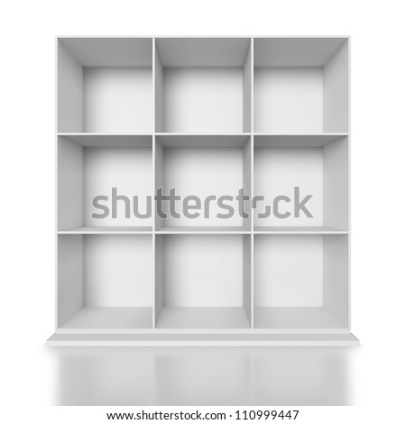 White painted wooden cupboard on white background