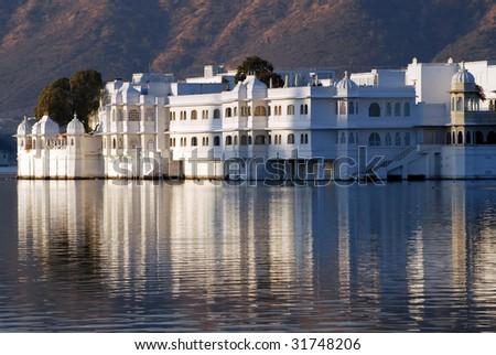 White Palace in Lake Pichola - stock photo