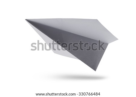 White paper airplane isolated on white background with shadow. - stock photo
