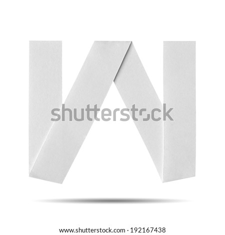 "White Paper alphabet  "" W "" on a white background with clipping paths. - stock photo"