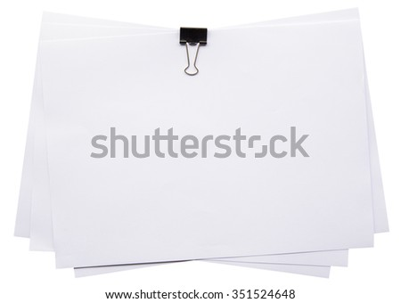 white paper and clip on isolated white with clipping path. - stock photo