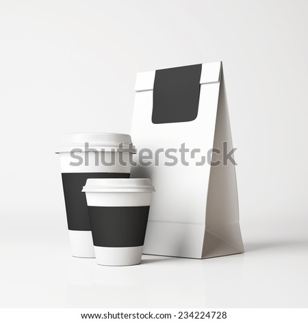White paper bag and cups - stock photo