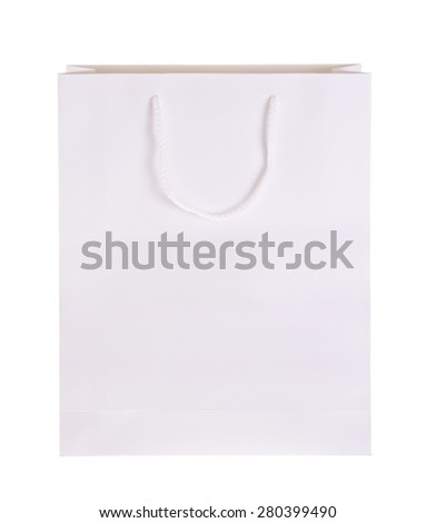 White Paper Bag for Shopping in the Boutique. Isolated