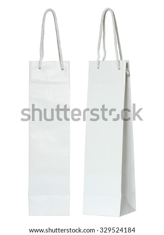 white paper bag for wine bottles isolated on white - stock photo