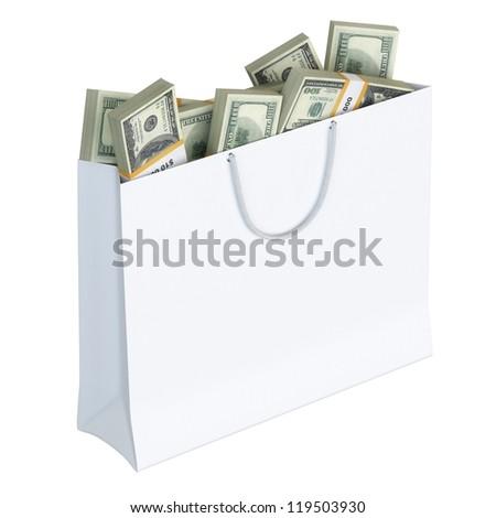 White paper bag full of money (isolated on white background version 2) - stock photo
