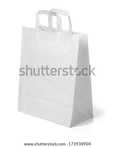 White paper bag isolated on white.With clipping path - stock photo
