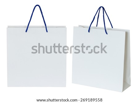 white paper bag isolated on white with clipping path - stock photo