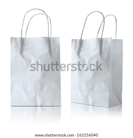 white paper bag on white background - stock photo