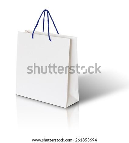 white paper bag on white background - stock photo