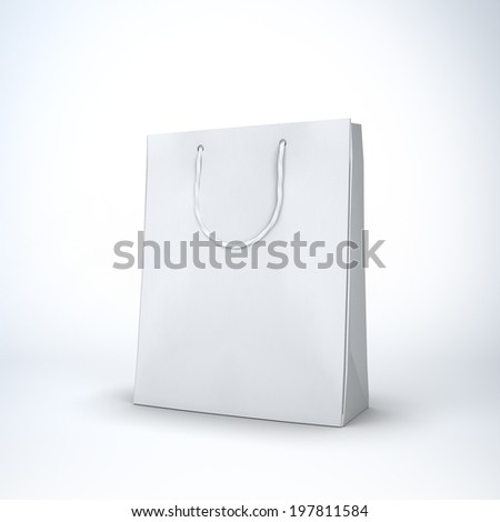 white paper bag on white background with clipping path