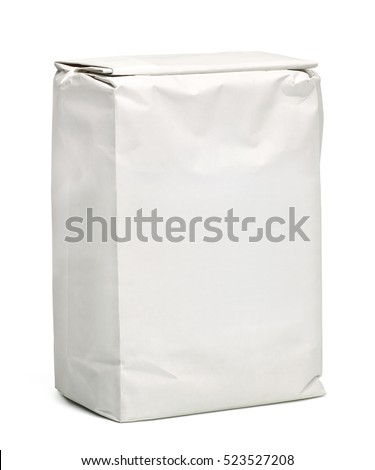 White paper bag or pack isolated on white background with clipping path