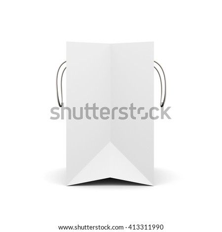 White paper bag with handles side view. Paper white bag for your design. 3d render image on white background.  - stock photo