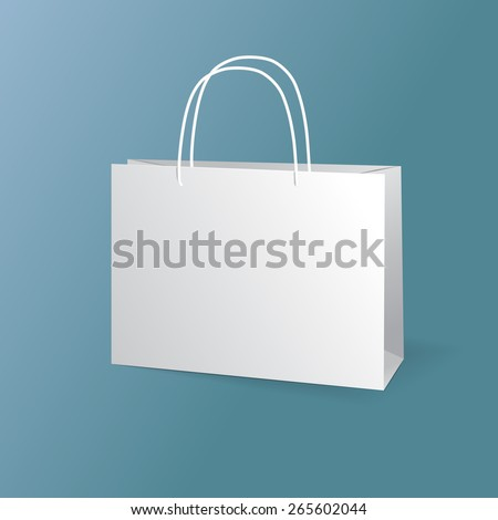 white paper bags set isolated on blue background - stock photo