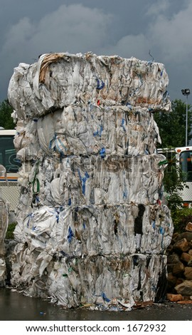white paper bales for recycling - stock photo