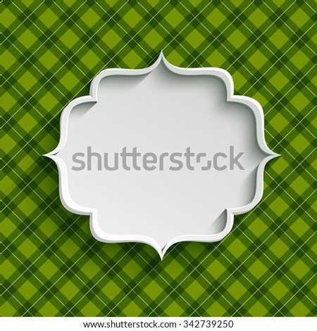 White paper banner in vintage or retro style over green pattern. St. Patricks day greeting card template - stock photo