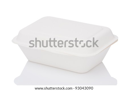 white paper box isolated on white - stock photo