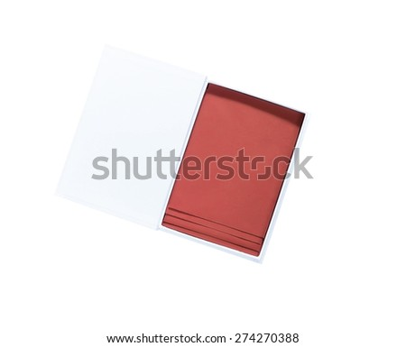 white paper box with brown envelopes inside isolated on white background
