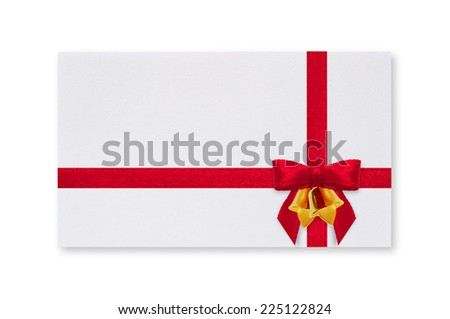 White paper card with a red bow and bell on a white background.
