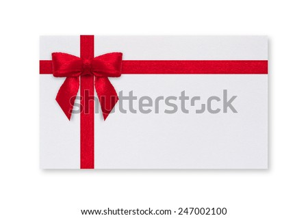 White paper card with a red bow on a white background.