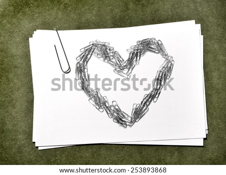 White paper cards with paperclip heart love business - stock photo