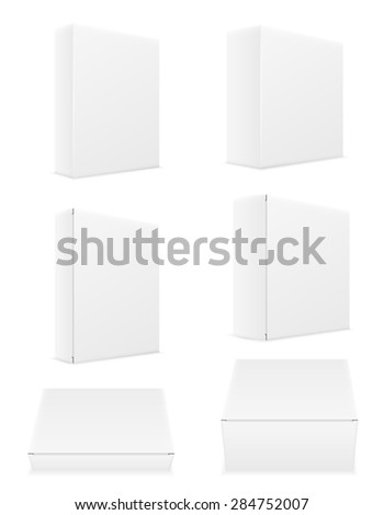 white paper carton box packing set icons illustration isolated on background